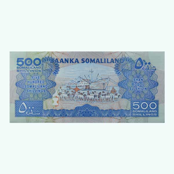 Somaliland 500 Shillings Description Card with Original Banknote