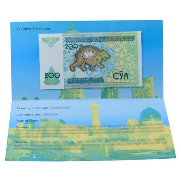 Uzbekistan 200 So'm Description Card with Original Banknote