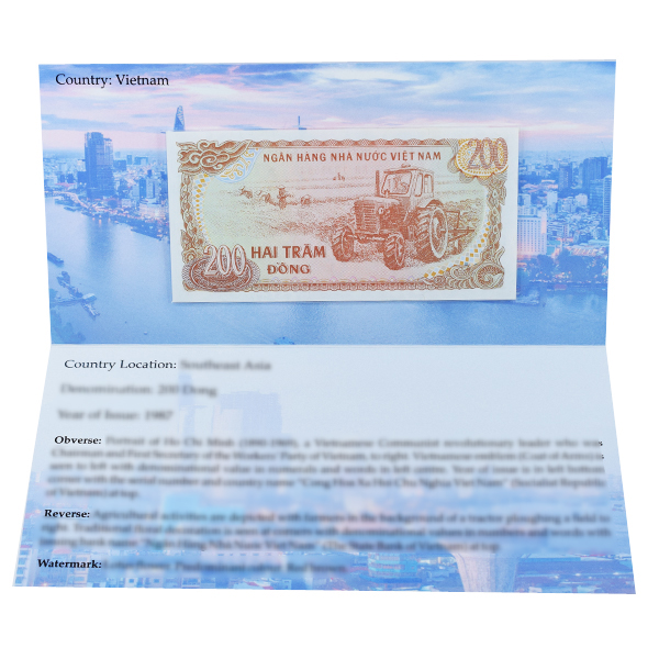 Vietnam 200 Dong Description Card with Original Banknote