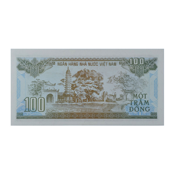 Vietnam 100 Dong Description Card with Original Banknote