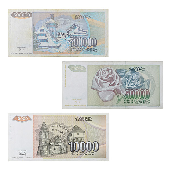Set of 3 Yugoslav Currency Note Dinar