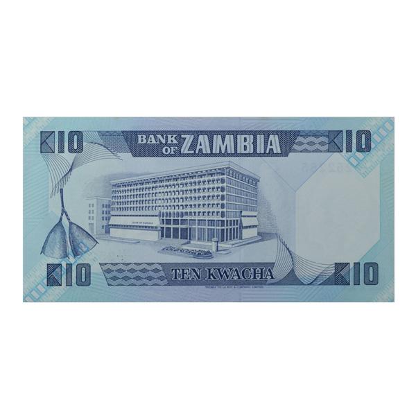 Zambia 10 Kwacha Description Card with original Banknote