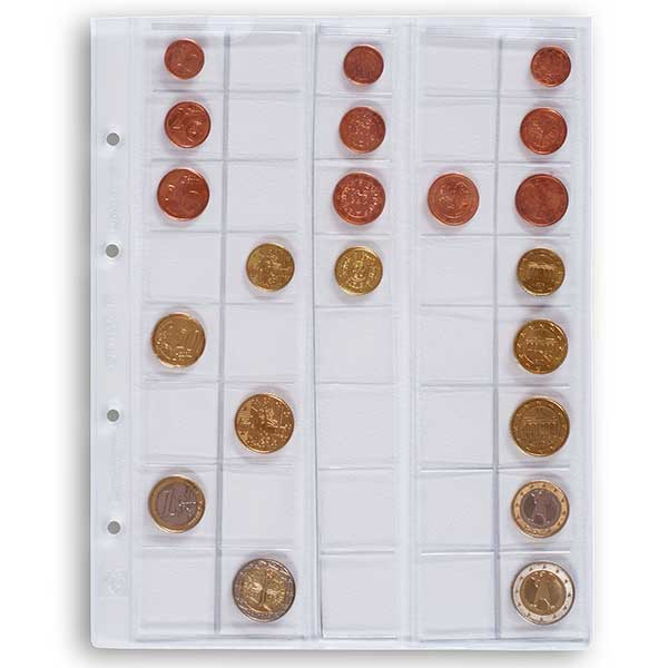 Lighthouse Coin Sheets OPTIMA for Euro Sets upto 26mm Clear