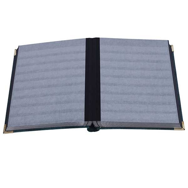 Lighthouse Deluxe Stockbook DIN A4 - 64 Black pages - Padded Cover - crocodile-look metal corners - Green