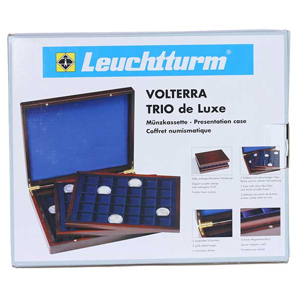 Lighthouse Presentation case VOLTERRA TRIO de LUXE - with Square divisions for Coins of 30,39,48mm