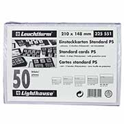 Lighthouse Standard Cards PVC 210 x 148mm - 5 Clear Strips with Cover Sheet - Black card - 50 per pack