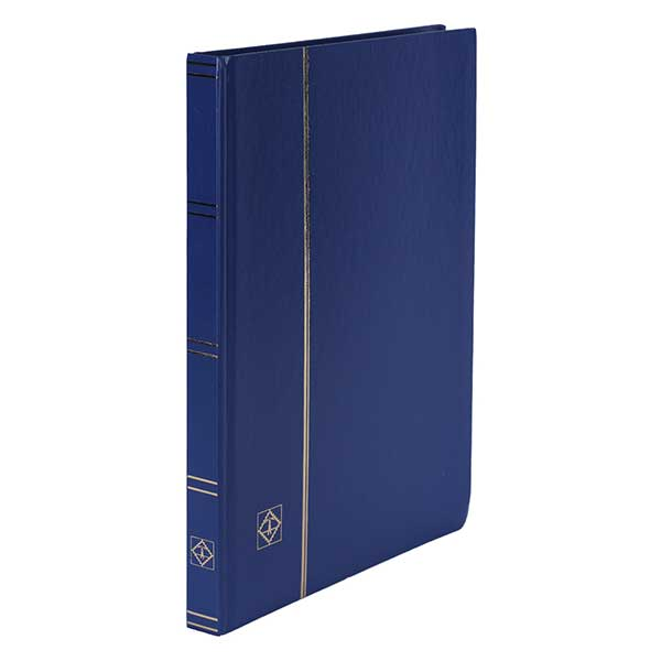 Lighthouse Stockbook A4 - 32 Black pages - divided - Non-padded cover - Blue