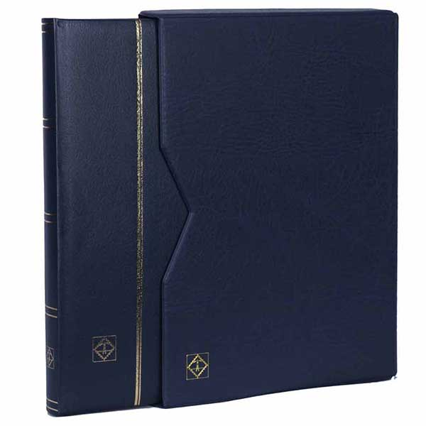 Lighthouse Stockbook A4 - 32 Black pages - Padded leather cover and case - Blue