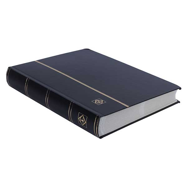 Lighthouse Stockbook A4 - 64 White pages - divided - non-padded cover - black