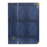 Lighthouse Deluxe Stockbook A4- 64 black pages- Padded Cover- Crocodile Look Metal Corners- Blue