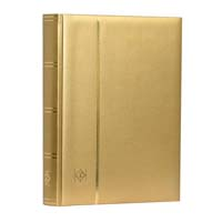 Lighthouse Stamp Stockbook COMFORT A4 - 64 Black Pages - Padded Metallic Cover - Gold