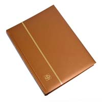 Lighthouse Stamp Stockbook COMFORT A4 - 64 Black Pages - Padded Metallic Cover - Bronze
