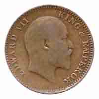 British India King Edward VII Quarter Anna 1907 Calcutta
