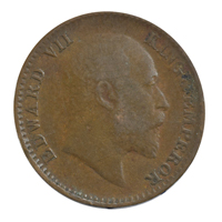 British india King edward VII - 1/12 Anna Coin 1907 calcutta