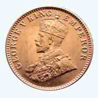 British India King George V Quarter Anna 1917 Calcutta