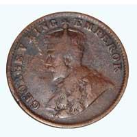 British India King George V Quarter Anna Coin 1919 Calcutta