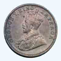 British India King George V Quarter Anna Coin 1929 Calcutta