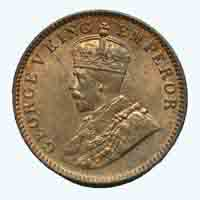 British India King George V Quarter Anna Coin 1935 Calcutta