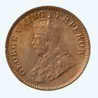 British India King George V Quarter Anna Coin 1936 Calcutta