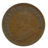 British india King George V - 1/2 pice Coin 1928 calcutta