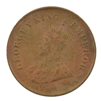 British india King George V - 1/2 pice Coin 1930 calcutta