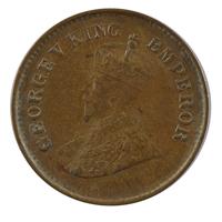 British india King George V - 1/2 pice Coin 1935 calcutta