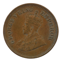 British india King George V - 1/2 pice Coin 1936 calcutta