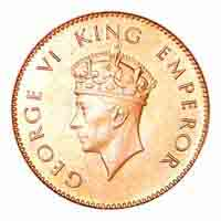British India King George VI Quarter Anna Coin 1938 Mumbai