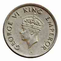 British India King George VI Quarter Rupee Coin 1947 Mumbai