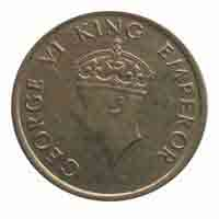British India King George VI Quarter Rupee Coin 1946 Bombay