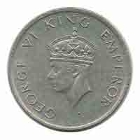 British India King George VI Half Rupee Coin 1946 Bombay