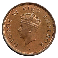 British India- King George VI Quarter Anna Coin 1940 Bombay