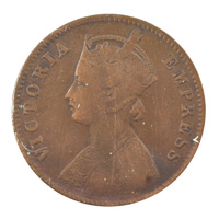 British India Victoria Empress - Quarter Anna Coin 1891 calcutta
