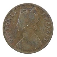 British India Victoria Empress - Quarter Anna Coin 1892 calcutta