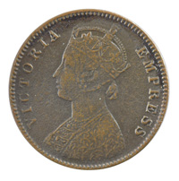 British India Victoria Empress - Quarter Anna 1896 calcutta