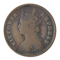 British India Victoria Empress - 1/2 Pice Coin 1896 calcutta