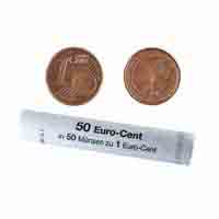 Germany 1 Euro Cent Mint Roll 50 Coins
