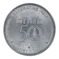 Republic India 5 Rupees Commemorative Coin 50 Years ONGC Hyderabad