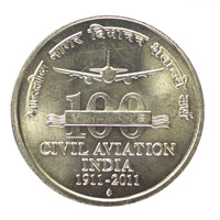Republic India 5 Rupees Commemorative Coin Civil Aviation