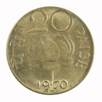Republic India 20 Paise Coin 1970 Hyderabad