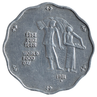 Republic India 10 Paise 1981 World Food Day Commemorative Coin