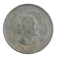 Republic India  50 Paise Commemorative Coin Indira Gandhi