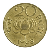 Republic India 20 Paise Coin 1968 Mumbai