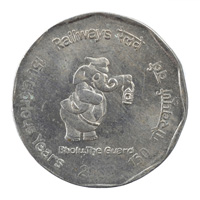 150 glorious years of Railways 2 Rupees Commemorative Coin - Republic of India