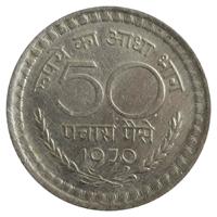 Republic India 50 Paise Coin 1970 Kolkata Mint