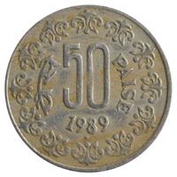 Republic India 50 Paise Coin 1989 Mumbai Mint