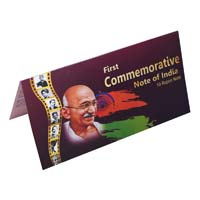 Mahatma Gandhi Commemorative Banknote Description Card - 10 Rupees