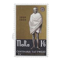 Mahatma Gandhi Postage Stamp -Single Stamp of Malta