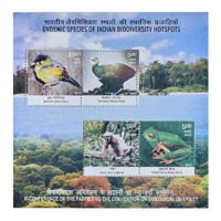 Endemic Species Of Indian Biodiversity Hotspots Miniature Sheet - 2012