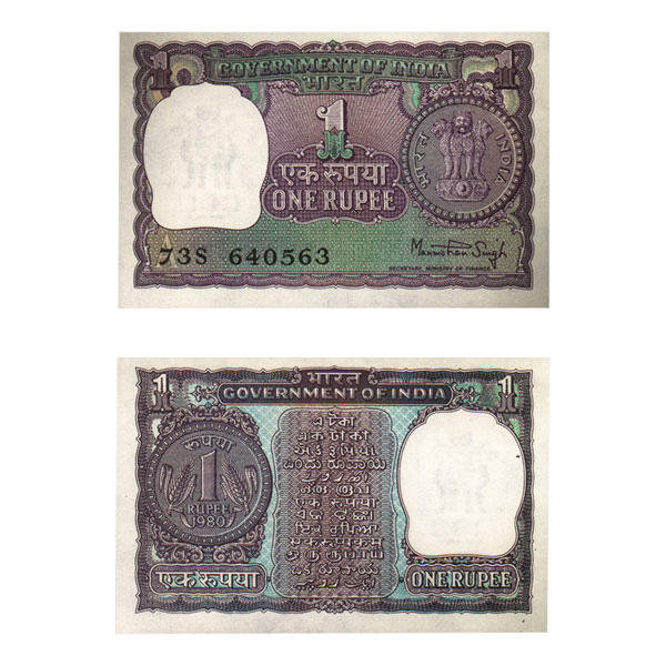 1 Rupee Note of 1980- Manmohan Singh
